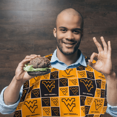 Adult lobster bib with West Virginia College Logo