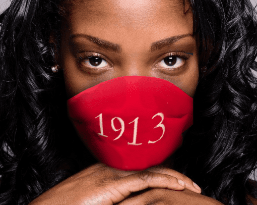 Delta Sigma Theta 1913 Facemask in classic red